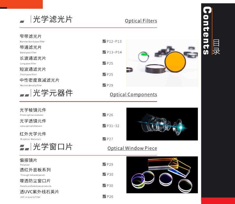 滤光片的产品目录